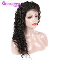 Lace Front Human Hair Wigs With Baby Hair Deep Wave Peruvian Wigs For Women Natural Black Remy Hair Lace Wigs Shuangya Hair