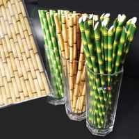 lowest price 100 /200/ 300 Bamboo Straw Pattern Paper Decoration Wedding Party Supplies Creative Straw birthday Party Straws