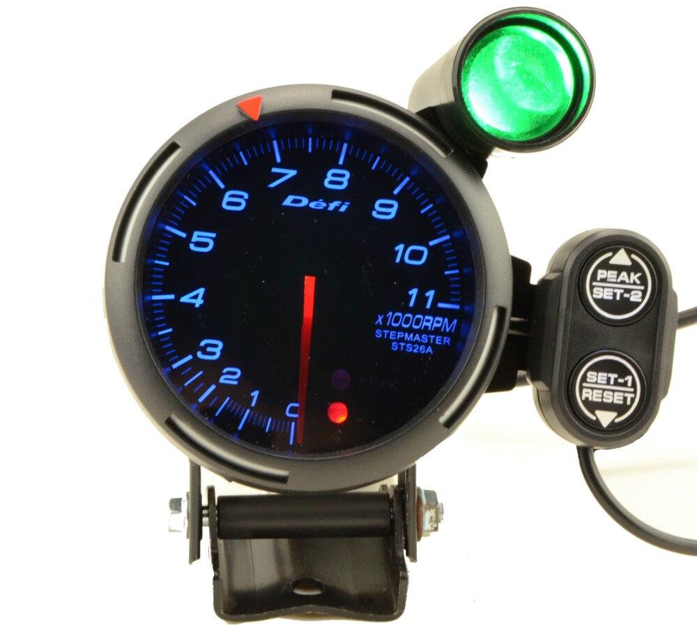 defi tachometer stepper motor bf blue led rpm gauge with peak and warning auto gauge. Black Bedroom Furniture Sets. Home Design Ideas