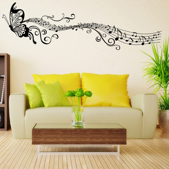 Classical Music Butterfly Room Decor Art Decals Vinyl Art Removable ...