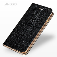 LANGSIDI brand mobile phone shell crocodile head clamshell phone case For iPhone X leather phone case full hand made