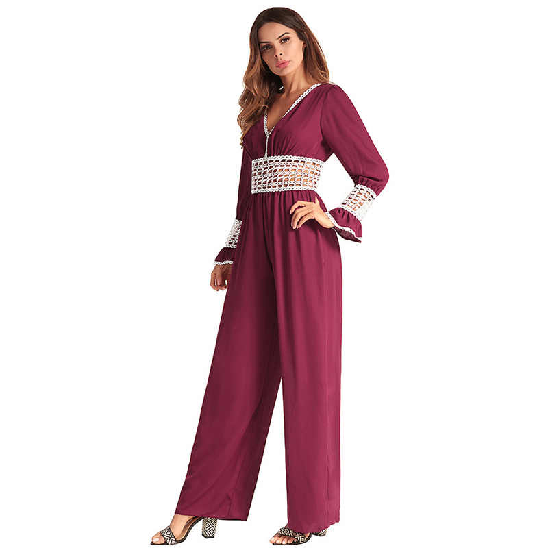 Office Lady Sexy Rompers Womens Jumpsuit Long Pants 2018 Fashion Elegant  Hollow Out Lace Crochet Long 82dc102a54db