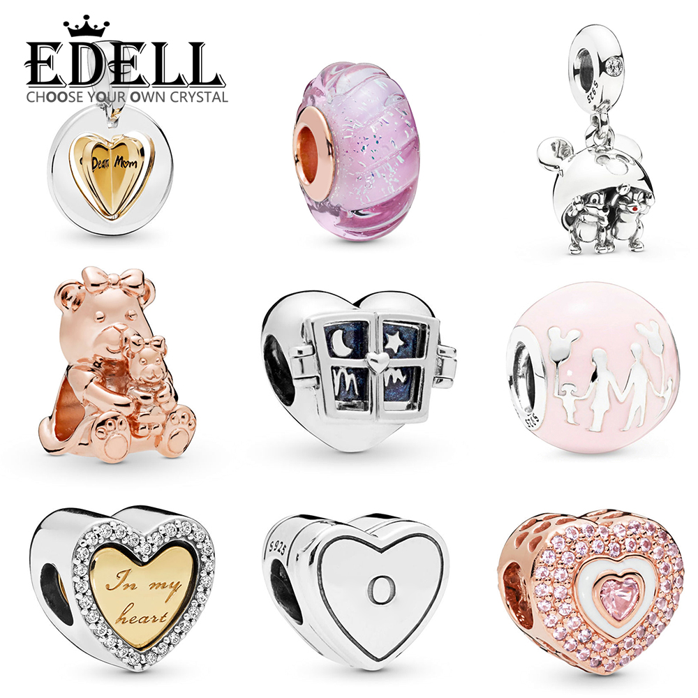 EDELL 100% 925 Sterling Silver Shine In My Heart Charm Rose Dora Bear Charm Parks Family Fun Pink Castle Balloon Charm BeadsEDELL 100% 925 Sterling Silver Shine In My Heart Charm Rose Dora Bear Charm Parks Family Fun Pink Castle Balloon Charm Beads