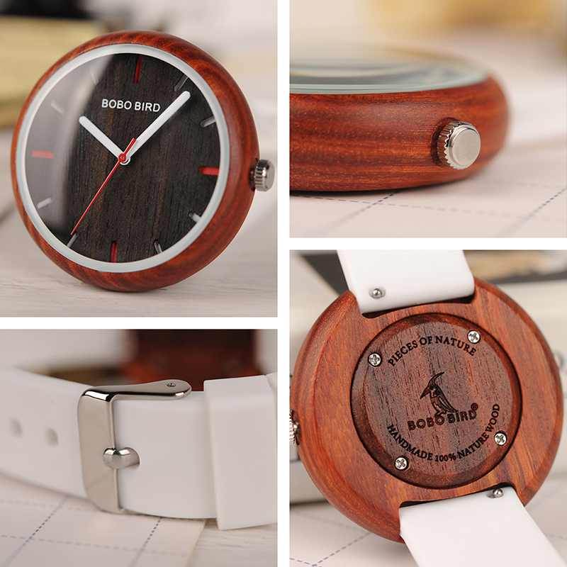 Reloj Mujer 2019 BOBO BIRD Fashion Colorful Silicone Strap Women's Watches In Gift Box Accept Customization