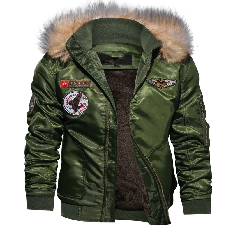 2018 Men Fleece Bomber Jacket Thick Down   Parkas   Motorcycle Jacket Military Pilot Jacket Outerwear Army Winter Jacket and Coat