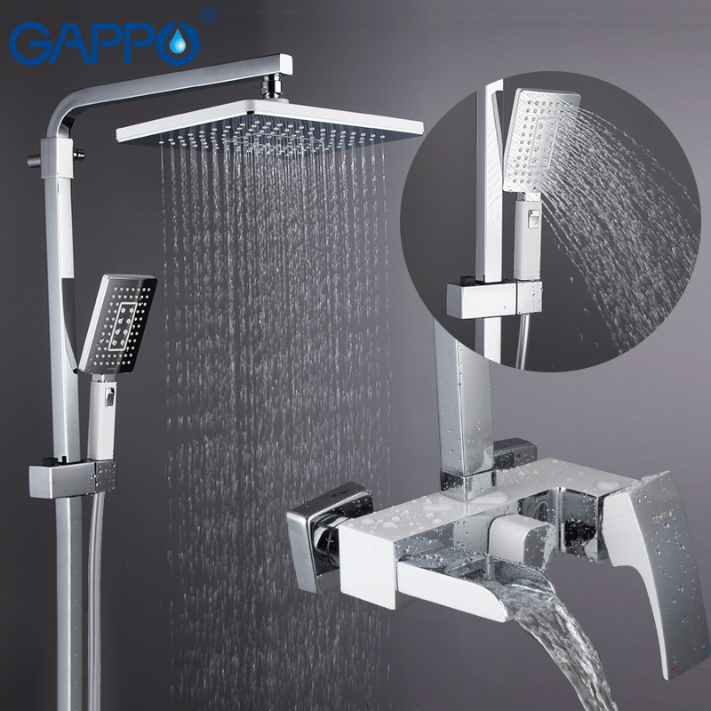 Shower-System Bath-Mixer Wall-Mounted GAPPO Chrome-Polished Rainfall