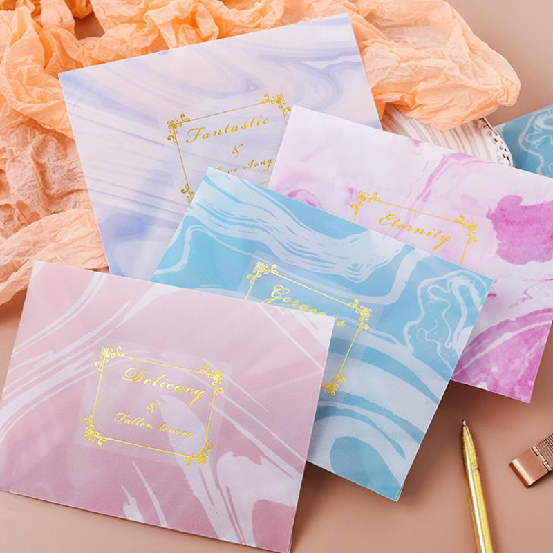 3 Pcs/pack Retro Watercolor Translucent Bronzing Sulfuric Acid Paper Envelopes Message Card Letter Stationary Gift