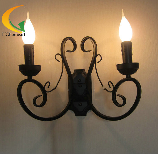 American Iron wall light pastoral Mediterranean restaurant candle wall lamp bedroom lamp living room vintage wall lamp