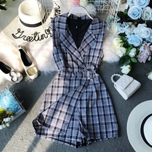 Summer Casual Plaid Romper Women Playsuit Chic Jumpsuits Sleeveless Bodysuit V-Neck Overalls For Combinaison Femme