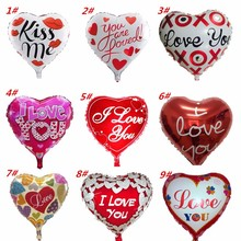 18 inches Heart Wedding Decor Foil Balloons Wedding Decoration Love Balloon Heart Air Ballon Kiss Helium Ballons Party Supplies