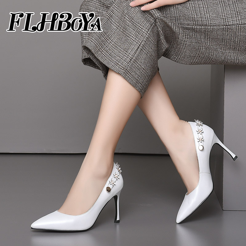 2018 New Women Sexy Thin High Heels Pointed Toe Pumps Shoes Ladies Black White Genuine leather Slip-on Shallow Appliques Pump trendy thin heel pointed toe women polka dot pump spring slip on high heels black white stiletto 2018 brand fetish factory shoes