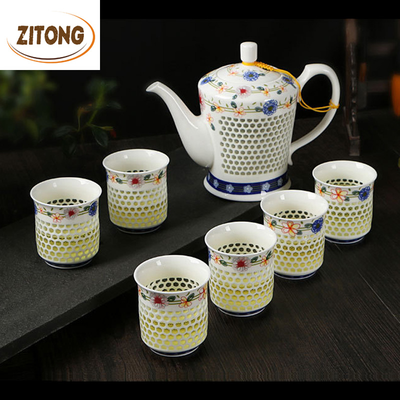 Advanced 7 Heads Chinese Tea Set Exquisite Ceramic Teapot And 6 Teacups Hollow Out Tea Cups