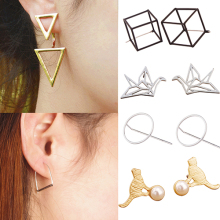 2016 New Product Women Lotus Cube Circle Cat Arch Triangle Hollow Paper Cranes Ear Studs Earrings C424