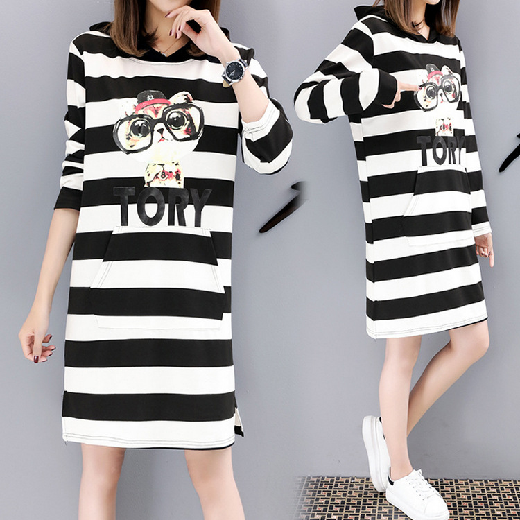 Pregnant women autumn and winter cotton dress loose large size stripes cartoon women's clothing цена 2017