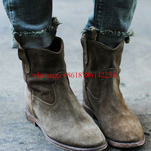 Women Ankle Boots Crisi Suede Autumn/Winter Flat Shoes Motorcycle Boots Shoes Nubuck Leather Retro Distressed Biker Booties