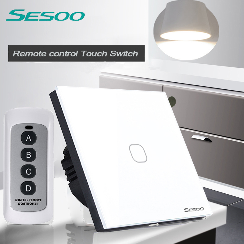 SESOO EU/UK Standard 1 Gang 1 Way Wireless Remote Control Light Switch, RF433 Remote Control Wall Touch Switch  For Smart Home eu uk standard sesoo remote control switch 3 gang 1 way wireless remote control wall touch switch crystal glass switch panel