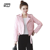 Autumn Winter Pink Blue Women Leather Jackets Soft Pu Faux Leather Coats Slim Short Design Turn