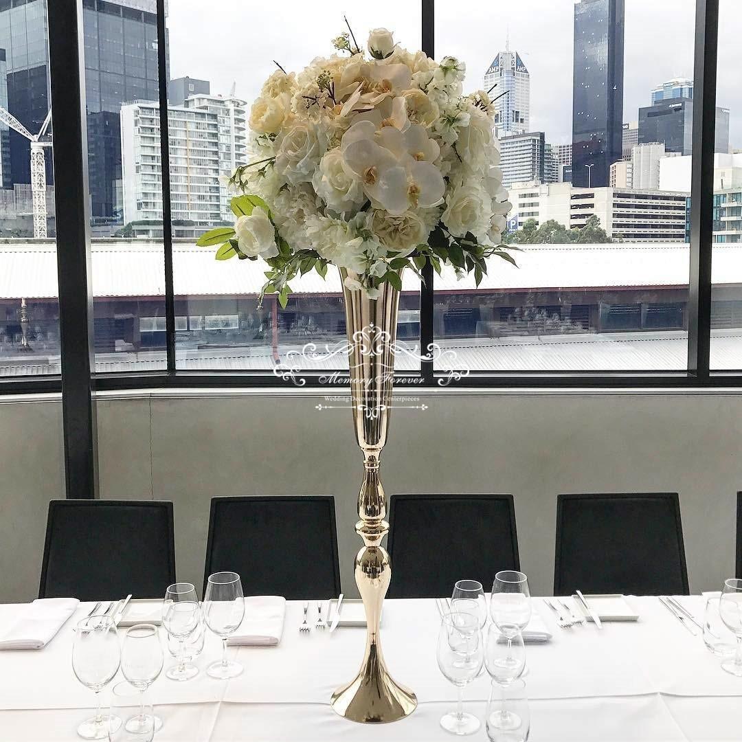 80cm Tall Wedding Flower Vase Metal Trumpet Vase For: Wedding Decoration Vase For Tables Floor Decorative Vases