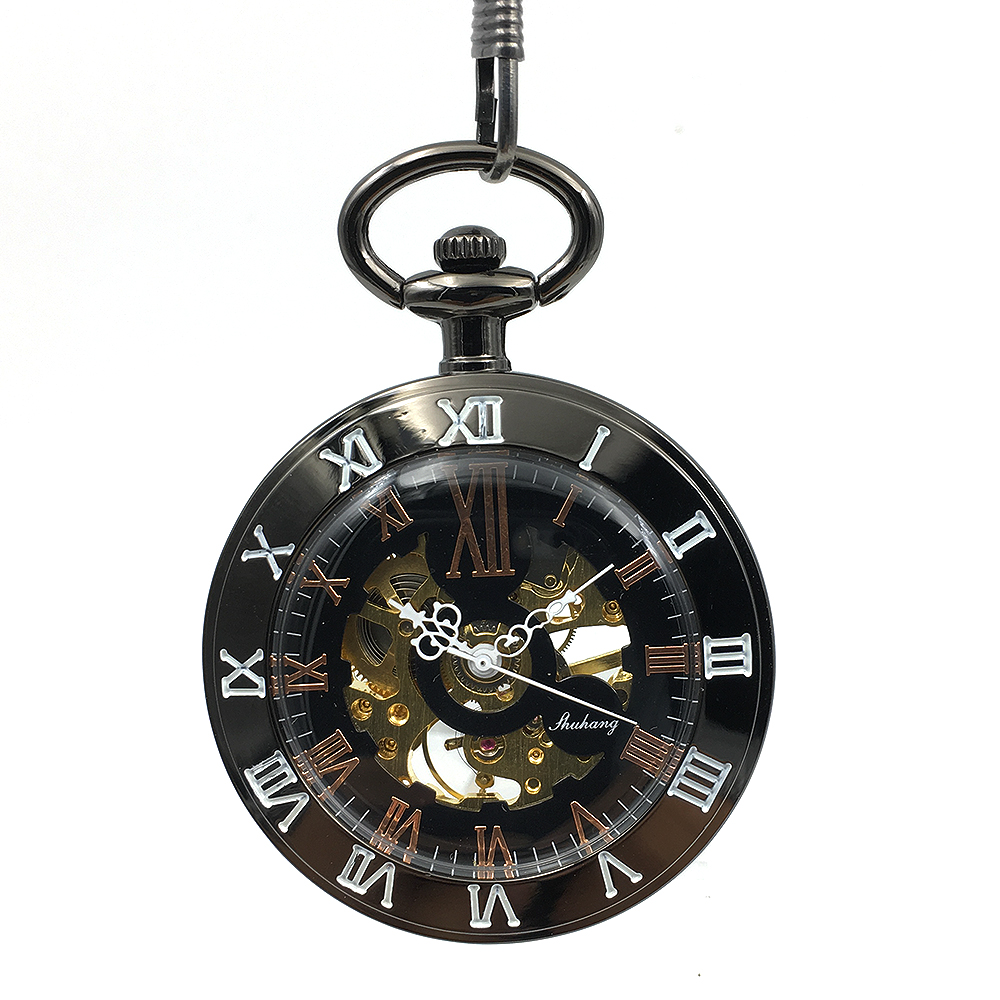 Black Open Face Case Double Roman Number Classic Skeleton Watches Retro Steampunk Pocket Watch Hand Wind Mechanical Pocket Watch