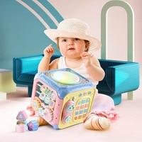 girl Multifunctional Musical Toys Toddler Baby Box Music Electronic Toys Gear Clock Geometric Blocks Sorting Educational Toys