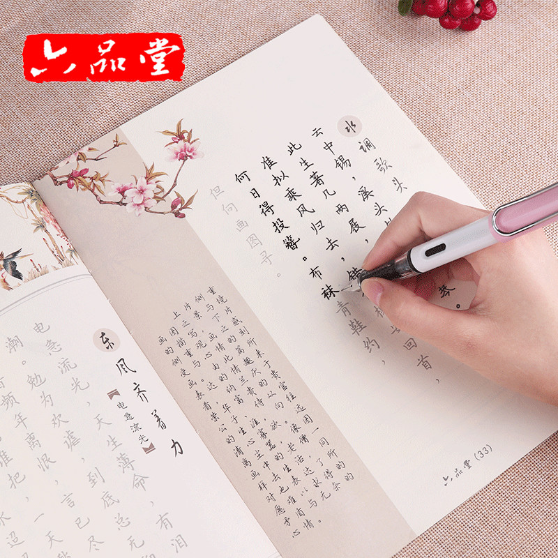 Newest Chinese Character Poem Copybook Lady Wei Calligraphy Writing Book Chinese Word Pen Copybook, Copybook+ Pen