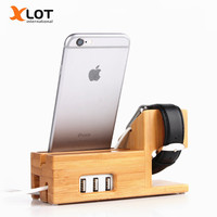 Bamboo Desktop Stand For Apple Iwatch Bracket Docking Holder Charger For Iphone6 6s Ipad Air Mini