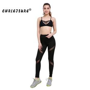 CHRLEISURE مثير النساء طماق القوطية إدراج شبكة تصميم السراويل السراويل كبيرة حجم الأسود Capris الرياضية جديد اللياقة البدنية طماق
