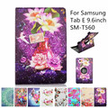 360 Degree Rotating PU Leather Flip Folio Swivel Stand Smart Case Cover For Samsung Galaxy Tab E 9.6 inch SM-T560 Tablet