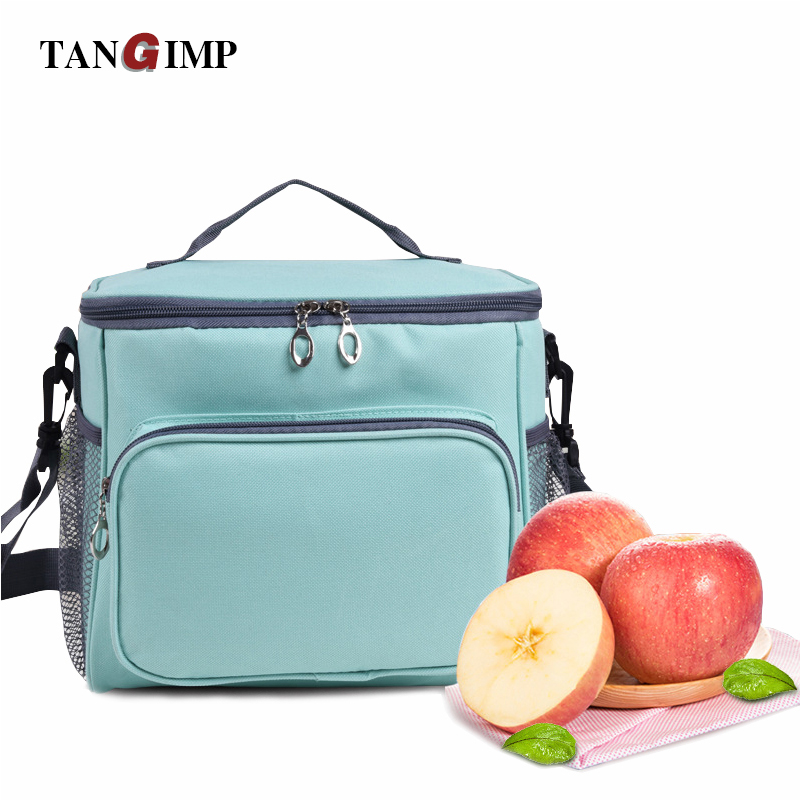 TANGIMP 10L Cooler Insulated Lunch Bag with 2 Way Zipper Closures Shoulder Strap Mint School Picnic Food Bags for Women Girls