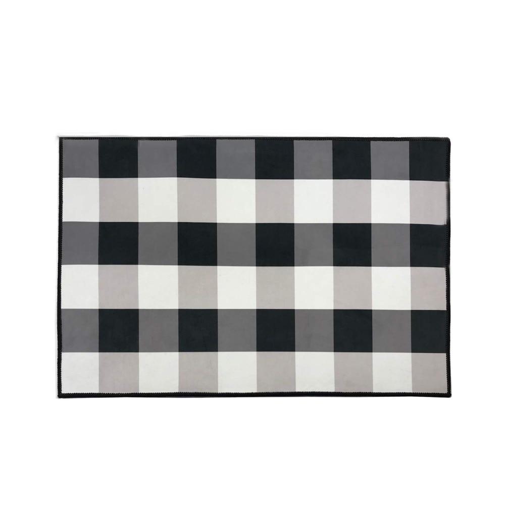 Black And White Buffalo Check/Plaid Rug Indoor Anti-Skid Doormat Cozy Floor Mat Non-Slip Smooth Velvet Fabric Kitchen Rug Mat