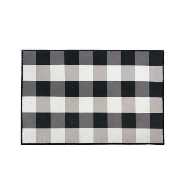 Black And White Buffalo Check Plaid Rug Indoor Anti Skid Doormat Cozy Floor Mat