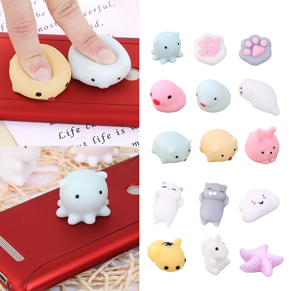 Besegad 15 PCS TPR Mochi Cute Cat Cartoon Animal Squishy Squeeze Squishies Toy Slow Rising for Adults Relieves Stress Anxiety