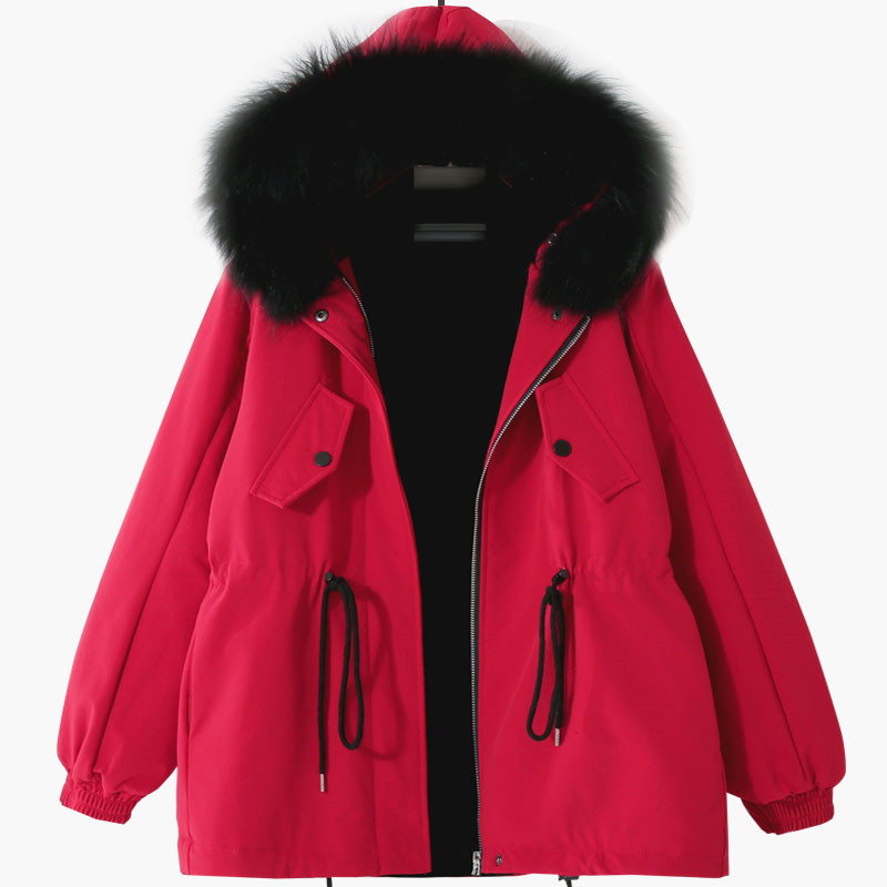 2018 NEW Winter red black Women Large Fur Collar Hooded Coats Fashion Thicken warm Parkas long Winter Jacket  X166