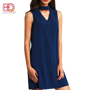 summer dress women Chiffon office Dress elegant V neck Bow Sleeveless Casual dresses solid a line ladies blue Mini vestidos 1