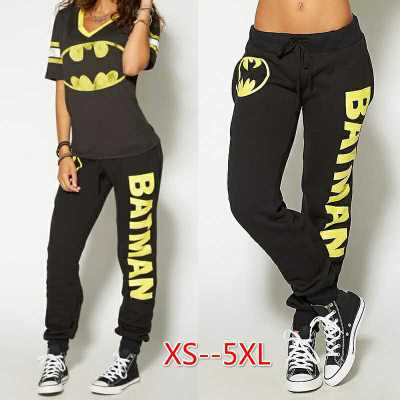 Batman Ladies T-shirt Top Joggers Pant Women Trousers Sport Gym Pants Tracksuit Batmen Cosplay Costumes Top+Pants XS-5XL