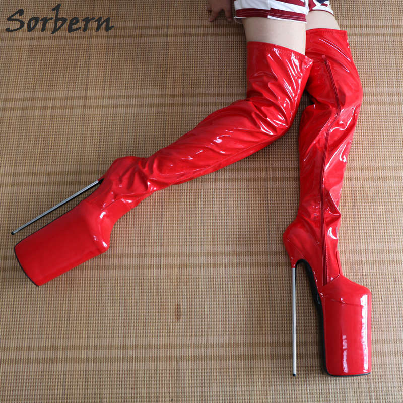 Sorbern 12 Ultra High Heel Metal Crotch High Boots Women Patent Leather Stretched Female Dance Party Boots Thick Platform Heels