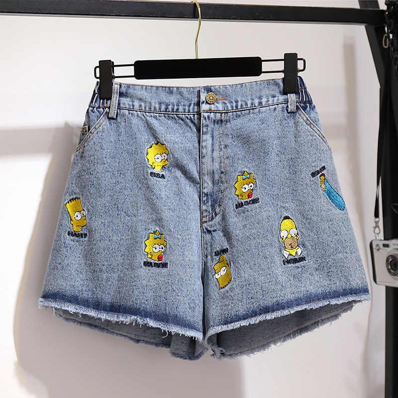 5XL 6XL Große Größe Frauen Sommer Denim Shorts 2019 Casual Plus größe Cartoon Bestickt Niedlich Shorts Weibliche Breite Bein Denim shorts