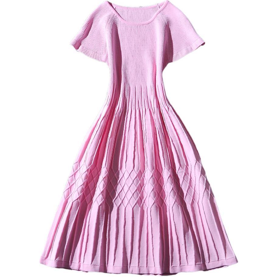 2019 été rose taille haute tricoté robe femmes à manches courtes slim col rond pull robe plissée
