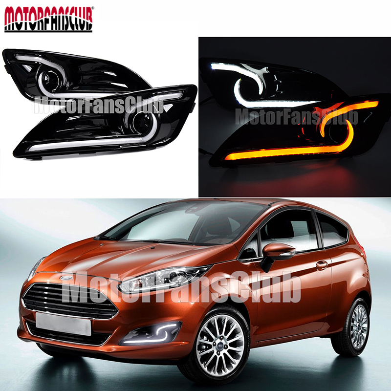 White Yellow Daytime Running Lamp DRL For Ford Fiesta 2013 2014 2015 2016 Auto Replacement Lights white yellow daytime running lamp drl for ford fiesta 2013 2014 2015 2016 auto replacement lights