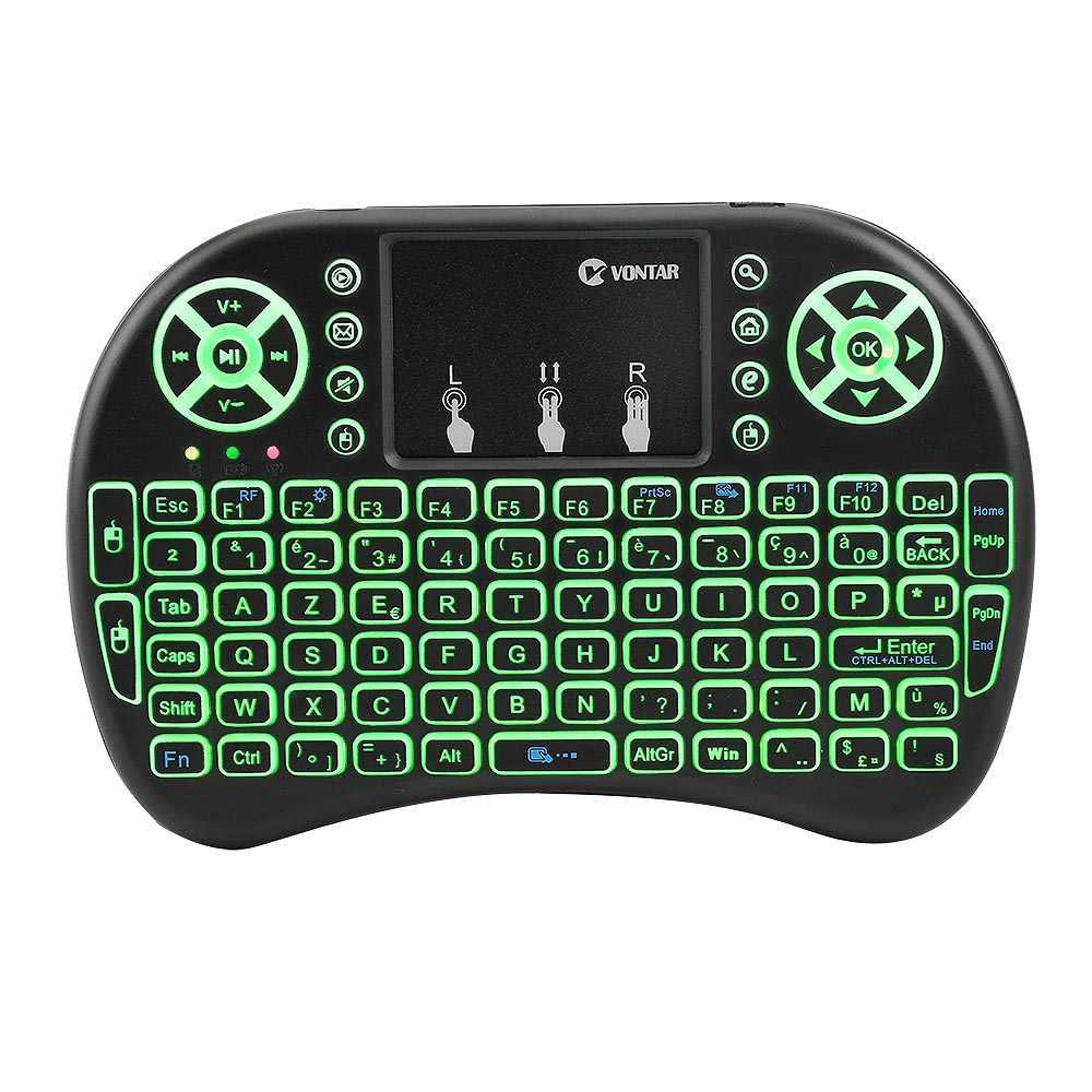 Tastiera Retroilluminata senza fili i8 Inglese/Russo/Spagnolo/Francese Air Mouse Mini Tastiera 2.4G con il Touchpad Remote di controllo per la TV BOX