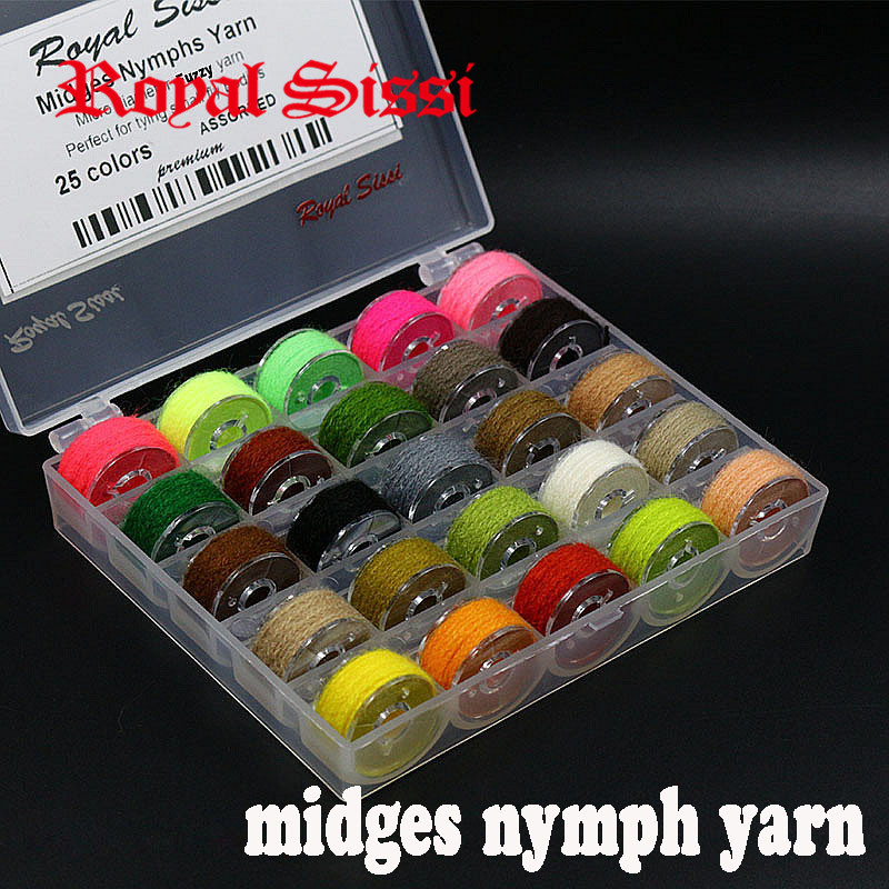 New 25colors/set midges nymphs yarn micro diameter fuzzy yarn for small fly bodies dry fly tying thread caddis tying materials
