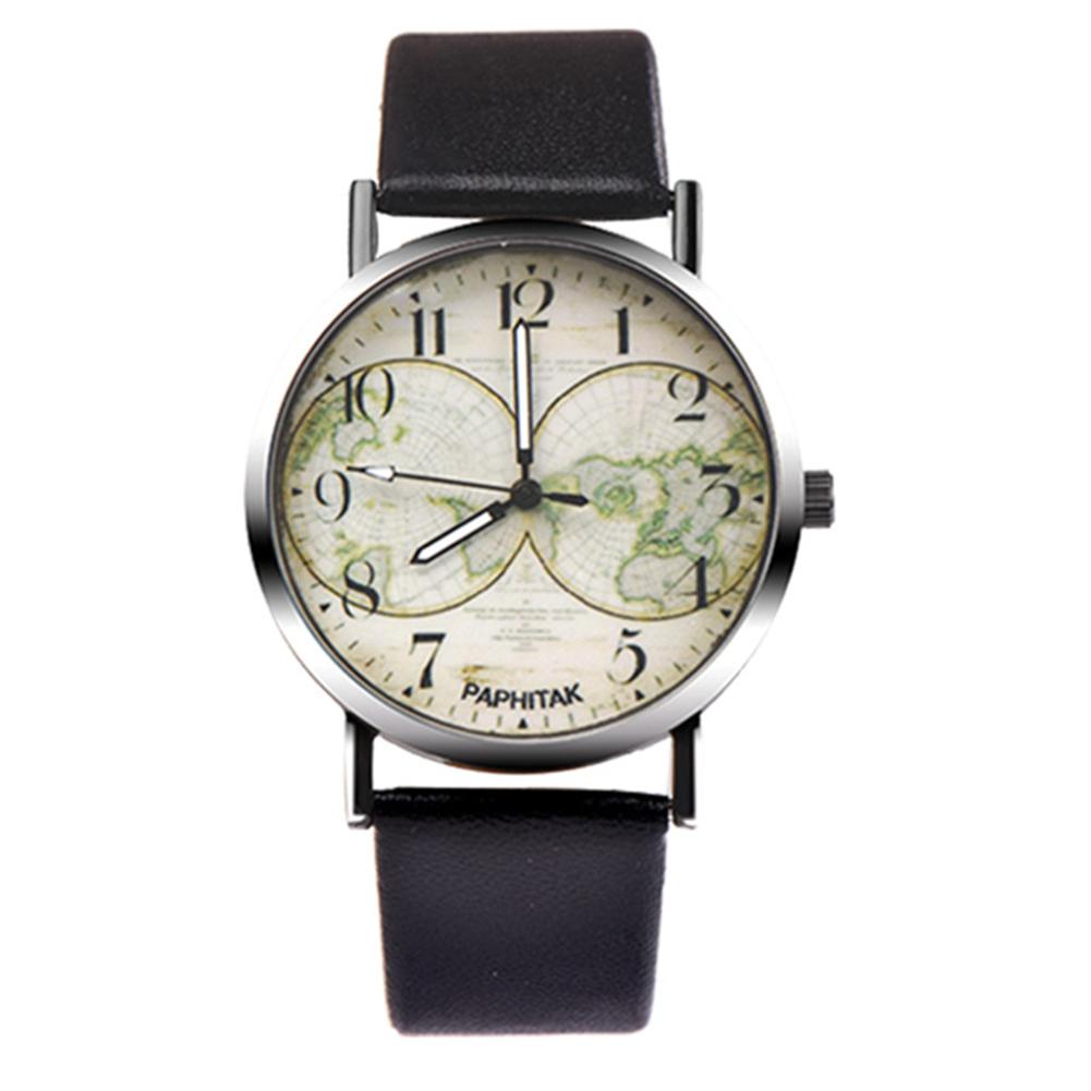 Bracelet Wrist-Watch Numbers Arabic Quartz Party Vintage Women Fashion Travel Map Analog-Pointer