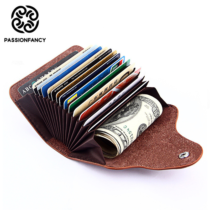 Solid Hasp Mini Wallets Genuine Leather Unisex Business Card Holder Wallet 15 Credit Card Case ID Holders Cardholder tarjetero 2017 new top brand pu thin business id credit card holder wallets pocket case bank credit card package case card box porte carte