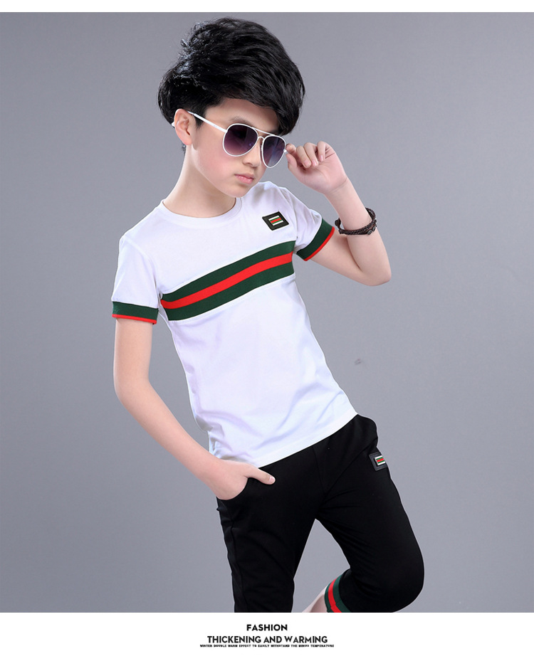 Casual Active Boys Clothes Set Summer Girls Teenage T Shirt Shorts Children Suit 2019 Kids Outfits Sports Clothing For Boys 2Pcs (16)