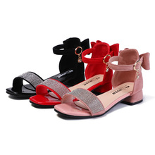 Child high heels Sandal Rhinestone Student Girls princess Shoes Kids Baby Grils Sandal 3T 4T 5T 6T 7T 8T 9T 10T 11T 13T 14T 15T