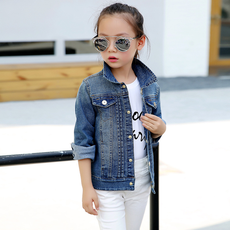 2-14Y Children Clothing Spring 2018 Big Girl Denim Jackets Children Jeans Coats Kids Coats For Girls Outerwear Kids Clothes Tops scratch kids girls outerwear denim jeans jackets for children embroidery flower baby girl coats infant autumn clothing outfits