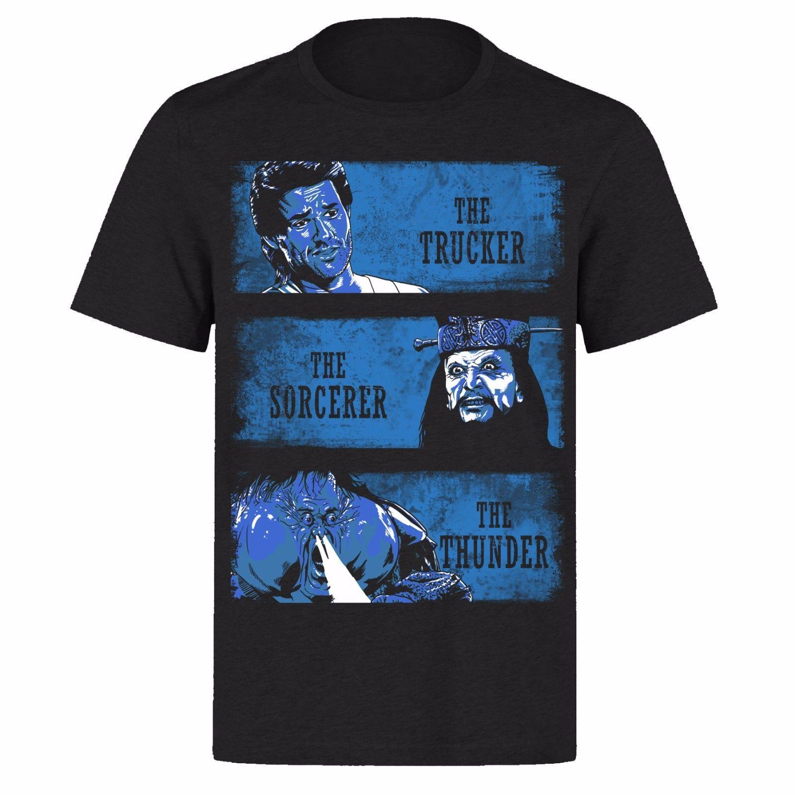 BIG TROUBLE IN LITTLE CHINA BLUE MOTIF JACK BURTON UNISEX BLACK PH36 T-SHIRT Print T Shirt Fashion Short Sleeve