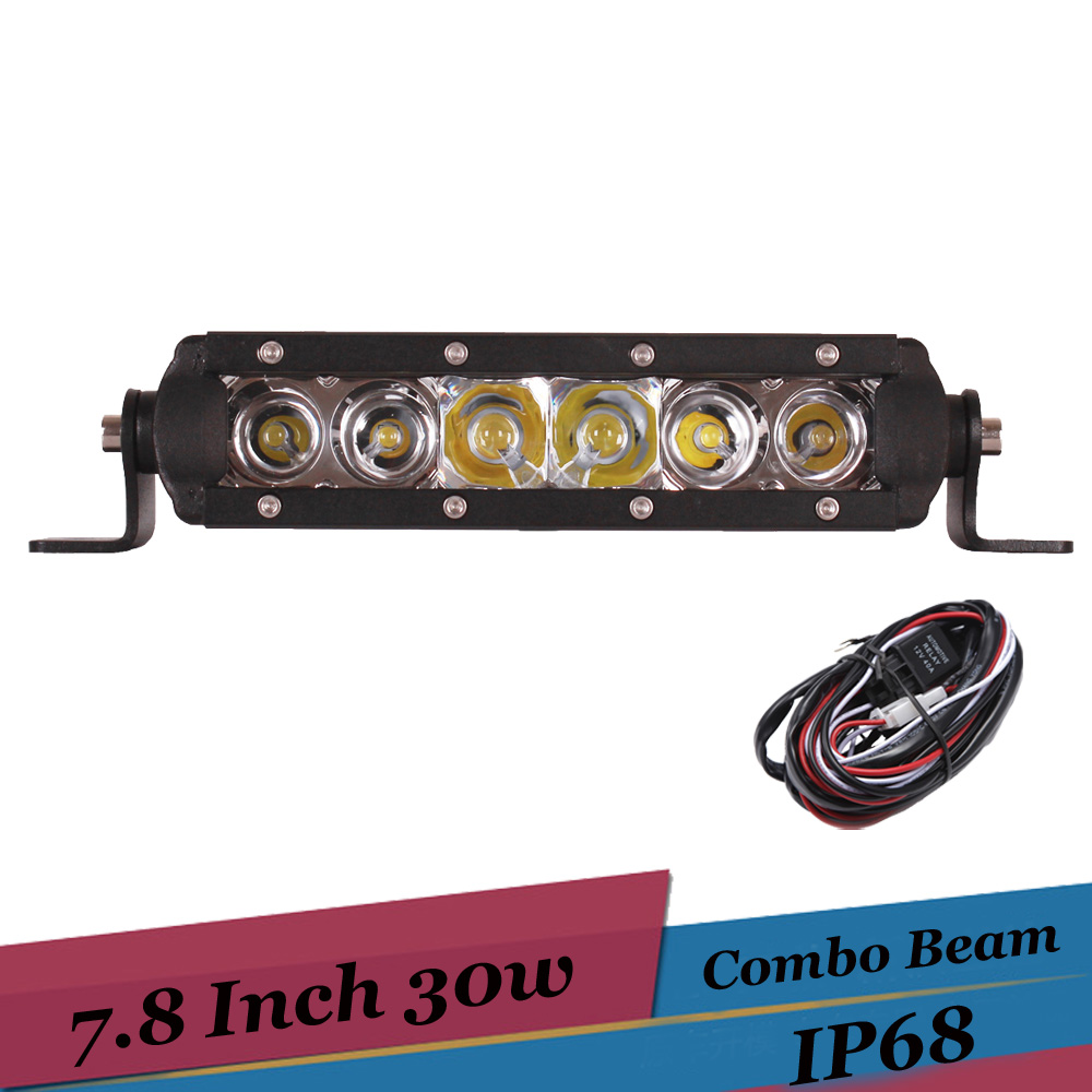 30W 8 Inch Combo LED Light Bar Offroad 4x4 Work Light for Suv AWD ATV Truck Trailer 12V Auto Driving Lamp for Polaris Sportsman