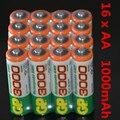16 unidades de baterías nimh aa 1.2 v batería recargable ni-mh 1000 mah batería recargable gp aa bateria recarregável pilha