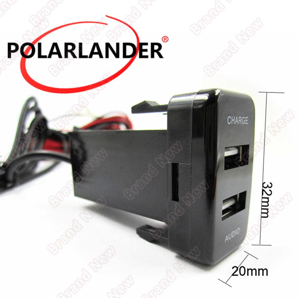 2.1A Dual USB Autolader MP3 Audio Speler ABS voor Toyota hot Socket Dashboard Mobiele Telefoon